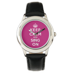 Kid's Stainless Steel Black Leather Strap Watch with Keep Calm and Sing On design