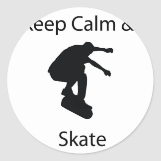Keep calm and skate classic round sticker
