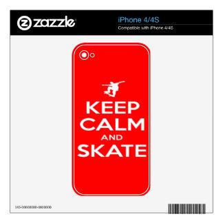 Keep Calm and Skate iPhone 4 Skins