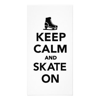 Keep calm and Skate on Personalized Photo Card