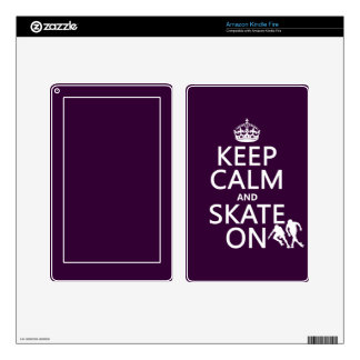 Keep Calm and Skate On (rollerskaters) Decal For Kindle Fire