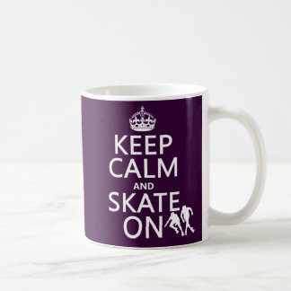 Keep Calm and Skate On (rollerskates) (any color) Classic White Coffee Mug