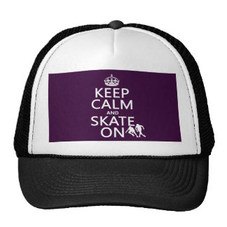 Keep Calm and Skate On (rollerskates) (any color) Trucker Hat