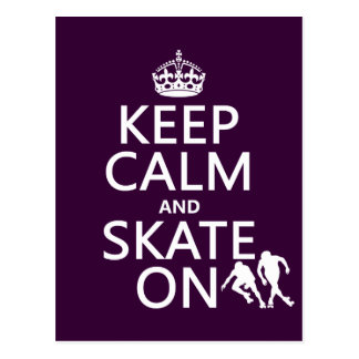 Keep Calm and Skate On (rollerskates) (any color) Postcard