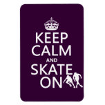 Keep Calm and Skate On (rollerskates) (any color) Vinyl Magnet