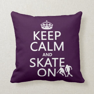 Keep Calm and Skate On (rollerskates) (any color) Throw Pillow