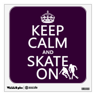 Keep Calm and Skate On (rollerskates) (any color) Wall Sticker