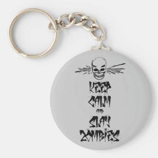 Keep Calm and Slay Zombies Keychains