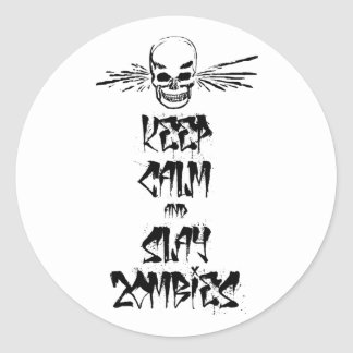 Keep Calm and Slay Zombies Round Stickers