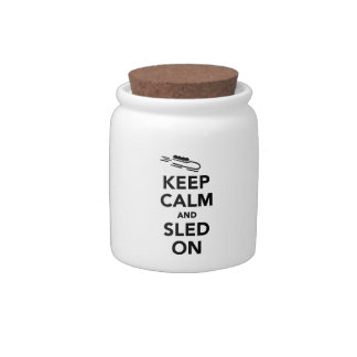 Keep calm and sled on candy dish