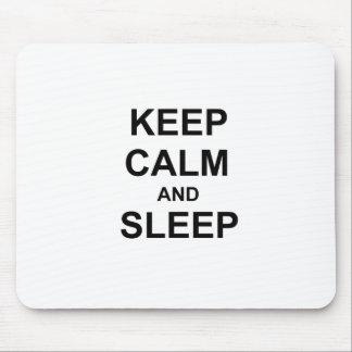 Keep Calm and Sleep black gray blue Mouse Pad