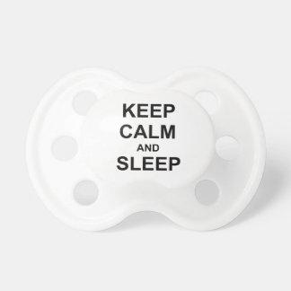 Keep Calm and Sleep black gray blue Baby Pacifiers