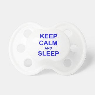 Keep Calm and Sleep black gray blue Baby Pacifier