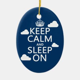 Keep Calm and Sleep On (customize color) Ceramic Ornament