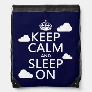 Keep Calm and Sleep On (customize color) Drawstring Bag