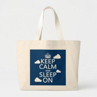 Keep Calm and Sleep On (customize color) Large Tote Bag