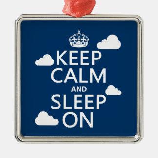 Keep Calm and Sleep On (customize color) Metal Ornament