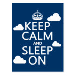 Keep Calm and Sleep On (customize color) Postcard