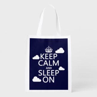 Keep Calm and Sleep On (customize color) Reusable Grocery Bags