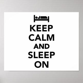 Keep calm and sleep on poster