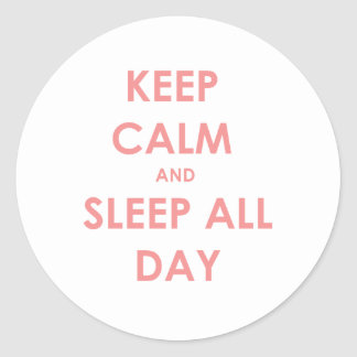 Keep calm and sleep round sticker