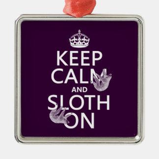 Keep Calm and Sloth On Square Metal Christmas Ornament