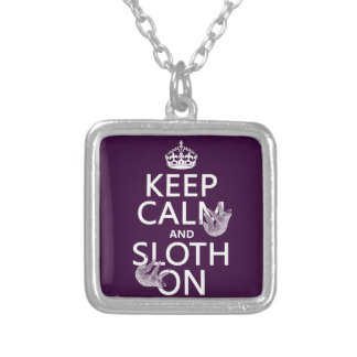 Keep Calm and Sloth On Square Pendant Necklace