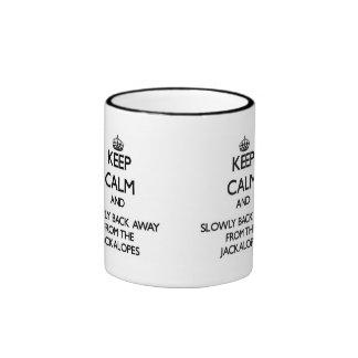 Keep calm and slowly back away from Jackalopes Ringer Coffee Mug