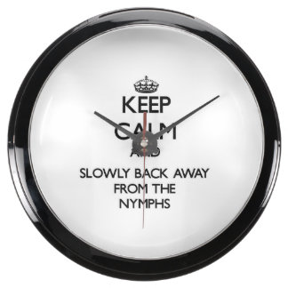 Keep calm and slowly back away from Nymphs Fish Tank Clock