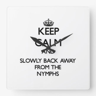 Keep calm and slowly back away from Nymphs Wall Clocks