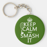Keep Calm and Smash It (tennis)(any color) Basic Round Button Keychain
