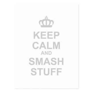 Keep Calm And Smash Stuff - Carry On Destroy Postcard