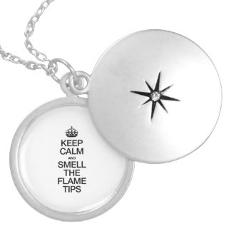 KEEP CALM AND SMELL THE FLAME TIPS ROUND LOCKET NECKLACE