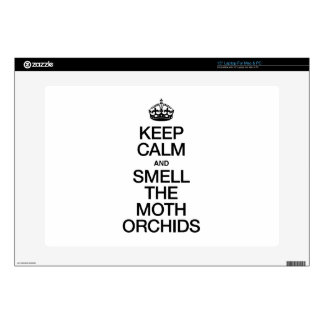KEEP CALM AND SMELL THE MOTH ORCHIDS LAPTOP SKINS