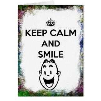 Keep Calm and Smile Grunge Border Big Smile Card
