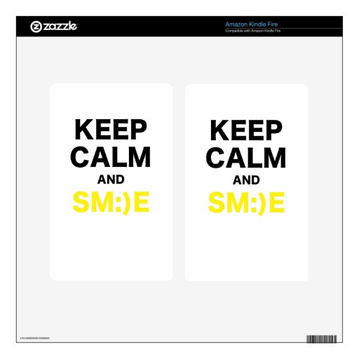 Keep Calm and Smile Kindle Fire Decals