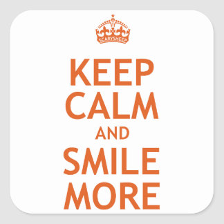 Keep Calm and Smile More Square Sticker