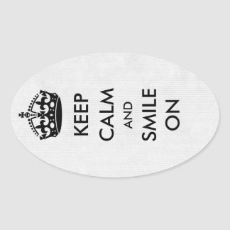 Keep Calm and Smile On White Kraft Paper Oval Sticker