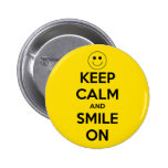 Keep Calm and Smile On Yellow 2 Inch Round Button