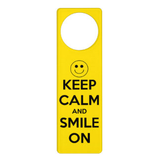Keep Calm and Smile On Yellow and Black Door Hanger