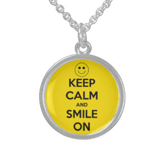 Keep Calm and Smile On Yellow Round Pendant Necklace