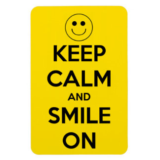 Keep Calm and Smile On Yellow Rectangular Photo Magnet