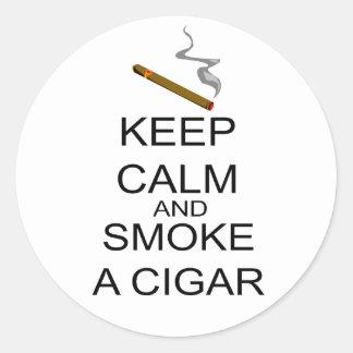 Keep Calm And Smoke A Cigar Classic Round Sticker