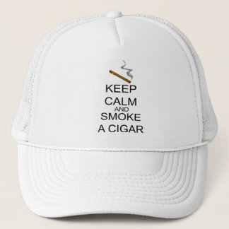 Keep Calm And Smoke A Cigar Trucker Hat