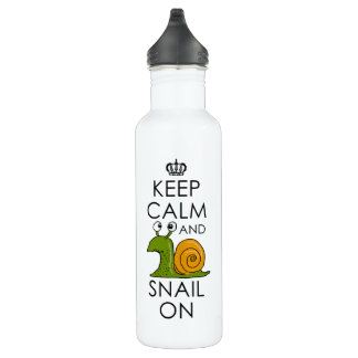 Keep Calm and Snail On Water Bottle
