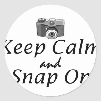 Keep Calm and Snap on- camera Classic Round Sticker
