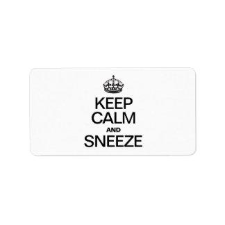 KEEP CALM AND SNEEZE CUSTOM ADDRESS LABEL