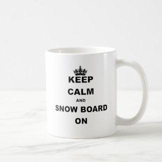 KEEP CALM AND SNOW BOARD ON.png Classic White Coffee Mug