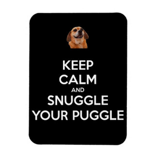 Keep Calm and Snuggle Your Puggle MAGNET - Black