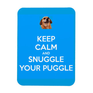 Keep Calm and Snuggle Your Puggle MAGNET - Blue